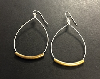 Rustic Hoop teardrop earrings, Mixed Metal Earrings or all silver