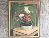Mid Century Still Life Floral Painting Signed Joe Franks 1953