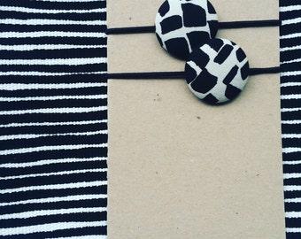 Marimekko Black & White Fabric Hair Elastic Buttons Metropoli Fabric