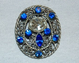 Vintage / Dress Clip / Cobalt / Clear / Rhinestone / 1930s / Art / Nouveau / Deco / Blue / Collectible / old jewelry