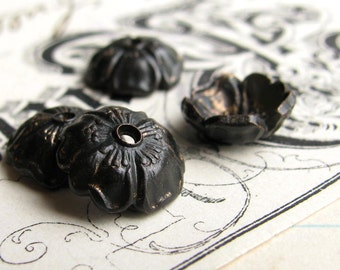 8mm Sakura flower bead cap, black antiqued brass (6 bead caps) black bead cap, cherry blossom, made in the USA, lead nickel free BC-G-040