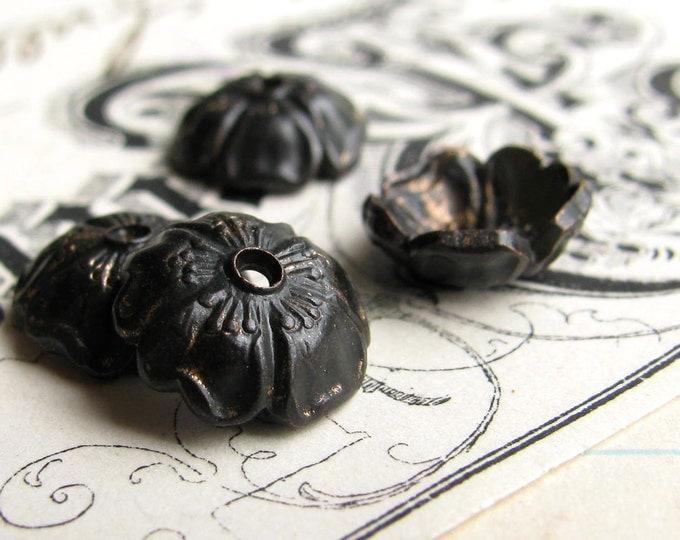 Black Brass 8mm Sakura flower bead cap (6 bead caps) black bead cap, cherry blossom, made in the USA, lead nickel free BC-G-040