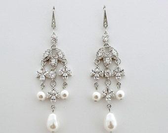 Bridal Earrings Chandelier Earrings Pearl Wedding Earrings Cubic Zirconia Pearl Bridal Jewelry Long Bridal Earrings, Leila