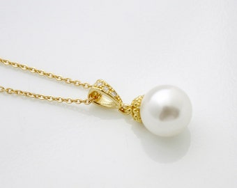 Pearl Wedding Necklace Gold Pearl Bridal Necklace Cream OR White Ivory Swarovski Pearl Simple Pearl Pendant Necklace, Ava