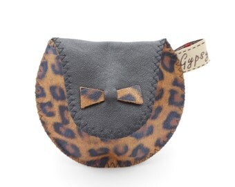 Leopard Print Leather Coin Purse / The Mini Gypsy Coin Purse / Leopard Print Black and Brown with Black Silk Lining