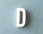 vintage 1930's white ceramic capital letter D small tiny little old antique porcelain decorative home decor retro personalized name initial