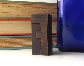 "vintage 20's 2"" letter F wood letterpress printers block stamp old antique retro decorative home decor aged weathered character small accent"