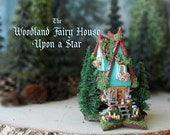 RESERVED for Chris - Woodland Fairy House Upon a Star - Miniature Fae Cottage with Mossy Tiled Roof, Pine Trees, Wildflowers & Mushrooms