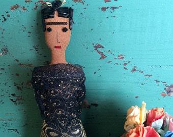 Frida Kahlo Doll - Frida Kahlo Art Doll - Frida Doll - Folk Art Inspired Ornament - Frida Ornament - Folk Art Doll - Black & Gold Sari Skirt