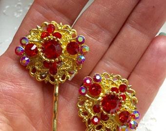 Vintage Red Rhinestone Hair Bobby Pins Bridesmaid Wedding Prom Art Deco Gold Doodaba