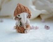 Artist collectible mini miniature elephant, kawaii teddy bear elephant, cute gift for her, valentines elephant, stuffed elephant toy,