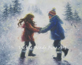 Snow Play Boy and Girl Art Print brother sister winter snow playing holding hands, snow children print from oil painting, Vickie Wade Art