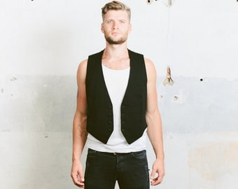 Vintage 1940s VEST . Dinner Suit Waistcoat 30s Black Wool White Cotton Lined Buttons  1940s Formal Wear Collarless Single Breasted . Medium