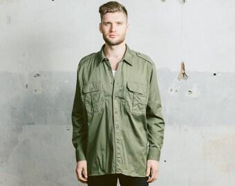 Men's Khaki MILITARY Shirt . Vintage 1980s Army 80's Green Long Sleeve Cotton Button Down Shirt Steampunk Boyfriend Gift . Large XL