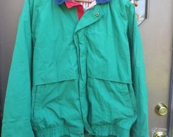 Hipster 80s Pierre CARDIN  mens   / womens colorful zipper front windbreaker jacket sz large