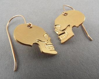 skull earrings, little gold skull earrings, skull jewelry, mini skull, small skull, gift for her, gift under 50, skull charm