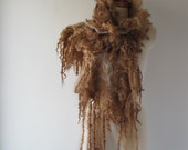 Felt Fur Curly scarf, Rustic Brown beige, Hand Felted scarf,Pure Real Wool, Fleece by galafilc Organic and Cruelty Free