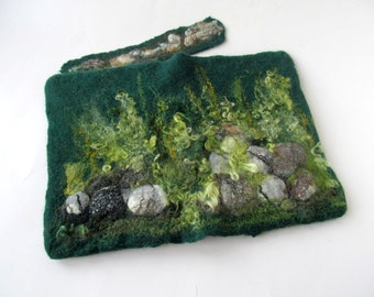 Journal cover notebook cover felt cover  Green moss book cover  felt journal cover personal gift personal book cover  gift under 25