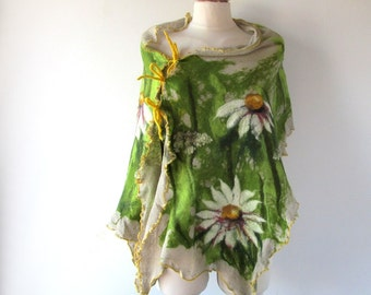 Linen poncho linen scarf  linen shawl knit jersey felted aplication Daisy flower natural flax