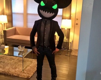 Evil Black Mouse Head Rave Party Costume inspired by a deadmau5 head