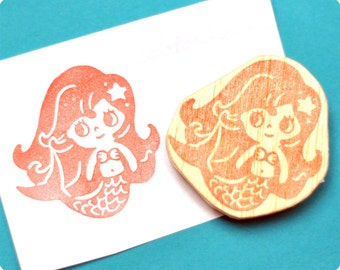 The Little Mermaid Hand carved rubber stamp