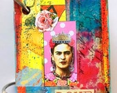 Mixed Media Art ALTERED PLAYING CARDS Mini Book/ Journal, Frida Book #2
