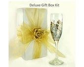 Large 10 x 10 Inch Deluxe Gift Box Kit for Large Wine Glasses Vase, Includes Box Ribbon and Satin Rose - Wine Glass Gift Box Kit Gift Boxes