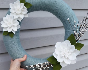 Winter wreath, felt flower wreath, yarn wrapped wreath, berry wreath, year round wreath, door decor, winter wedding, spring wreath, wedding