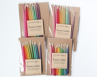 Rainbow birthday celebration party candles beeswax