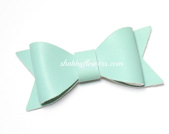 Faux Leather Bow in MINT, Leather Bow, Hair Bow, Headband Bow