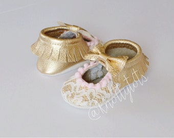 Limited Edition Gold and Lace Mary Jane Moccs, Unique Custom Moccasins