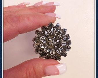 Fine Pewter Flower Brooch, USA, Designer Elias, Signed, Vintage 1990