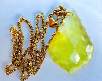 GLASS PRISM NECKLACE, Yellow, Large Prism, Upcycled, with Goldtone Chain & Tiny Heart, Repurposed Jewelry