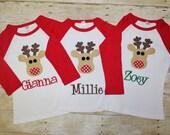 Reindeer Raglan Tee -custom name christmas shirt