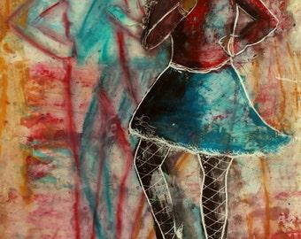 LONG-LEGGED LADY 2 original encaustic painting