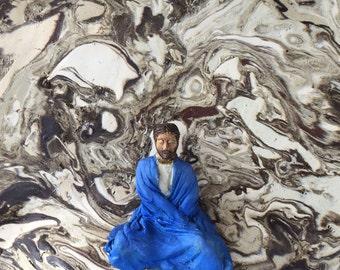 Sitting meditation sculpture wall art freestanding marbled ceramics figurine vipassana man yoga