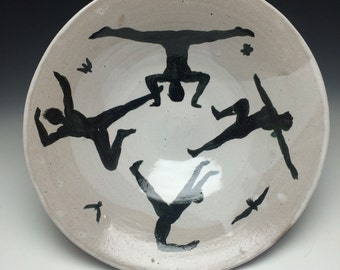Serving Bowl Dance Party, Pot Luck Platter Majolica Figure Painting Silhouettes, Joy Of Life, Sacred Circle Centerpiece