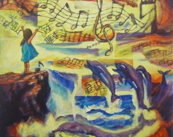 Untitled9 - Whimsical Ocean Fantasy Painting, Surreal Fine Art Print, Sea Waves, Girl, Music Notes, Dolphins, Whale, Bright, Vintage, Sunset