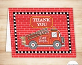 Fire Truck Thank You Card Template - Fire Truck Folded Thank You Card - Fire Truck Birthday Party - PRINTABLE Instant Download