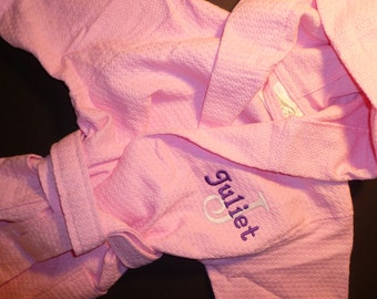 KIDS ROBE Monogram Hooded Robe Personalized Waffle Weave Robe All Cotton Robe Monogram Childs Robe Custom Embroidered