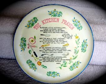 Vintage My KITCHEN PRAYER Poem  Serving Plate Platter Tray Wall Hanging Art Plaque