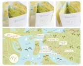 Cute Wedding Map Infographic with Itinerary, Wedding Map Invitation, Wedding Gift Bag Insert, (Tri-Fold) -- North Carolina