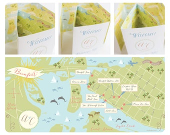 Custom Wedding Map with Itinerary, Wedding Map Invitation, Infographic, Wedding Directions, Accomodation (Tri-Fold) -- North Carolina
