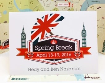 Custom Wedding Map & Itinerary, Wedding Map Invitation --London (5x7 tri-fold)