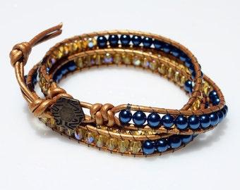 SALE 50% OFF, Wrap Beaded Bracelet, Friendship Bracelet, Leather Bracelet, Blue Pearls Bracelet, Teen Bracelet
