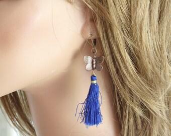 Copper Butterfly Earrings - Tassel Earrings - Long Earrings - Boho Earrings - Dangle Earrings - Unique Earrings - Butterfly Earrings