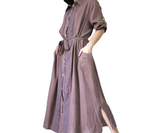 One Summer Dream...Cocoa Brown Fine Quality Rayon Shirt Collar Maxi Dress With Cotton Lace Along Button Panel & On Sleeve Cuff