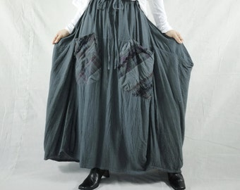 I Wish You Could See...Blueish Charcoal Grey Cotton Skirt With Roomy Patched Pockets Size 8 To Size 14