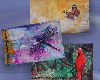 wall art postcard trio red cardinal butterfly dragonfly -messenger from spirit birds meaning of seeing cardinals symbolism mourning gift set