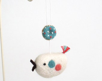 Needle felted doughnut and bird ornament - blue, white, pink, Christmas decor, felt miniature, kawaii gift